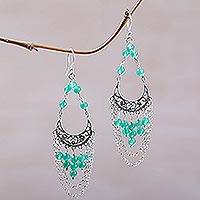 Agate chandelier earrings, 'Crescent Palace' - Sterling Silver and Agate Chandelier Earrings from Bali