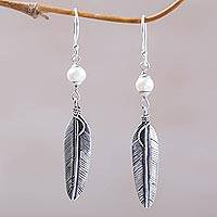 Cultured pearl dangle earrings, 'Light Feathers' - Sterling Silver and Cultured Pearl Balinese Feather Earrings