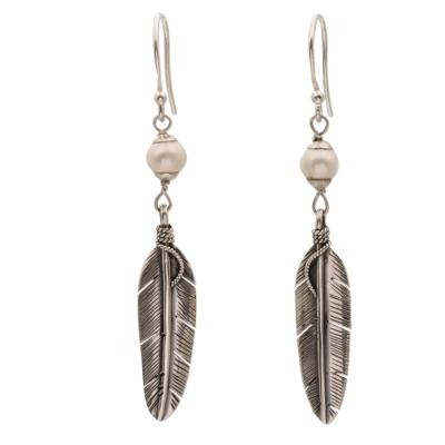 Sterling Silver and Cultured Pearl Balinese Feather Earrings