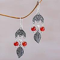 Carnelian and cultured pearl chandelier earrings, 'Patio Leaves' - Carnelian and Cultured Pearl Leaf Earrings by Bali Artisans