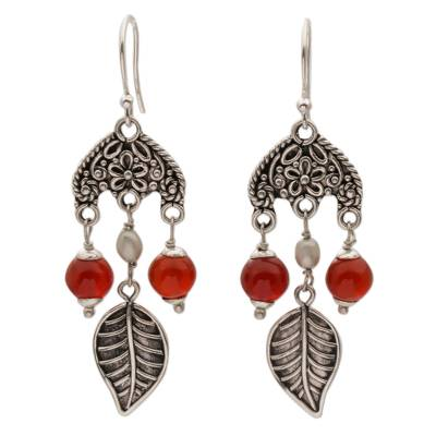Carnelian and Cultured Pearl Leaf Earrings by Bali Artisans