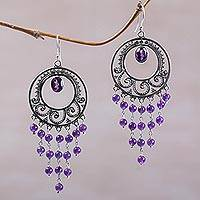 Amethyst chandelier earrings, 'Spiral Halos' - Amethyst Spiral Chandelier Earrings by Bali Artisans