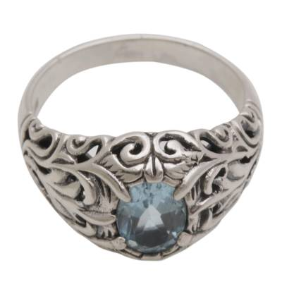 Blue topaz cocktail ring, 'Bali Hillside' - Blue Topaz and Sterling Silver Cocktail Ring from Bali