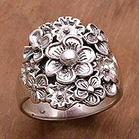Sterling silver cocktail ring, 'Parade of Jepun' - Sterling Silver Floral Cocktail Ring by Balinese Artisans