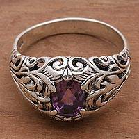 Amethyst cocktail ring, 'Bali Hillside' - Amethyst and 925 Sterling Silver Cocktail Ring from Bali