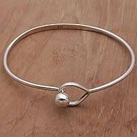 Sterling silver bangle bracelet, 'Embracing Simplicity' - 925 Sterling Silver Bangle Bracelet by Balinese Artisans