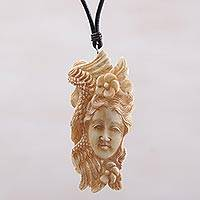 Bone pendant necklace, 'Free Woman' - Bone and Leather Floral Pendant Necklace from Indonesia