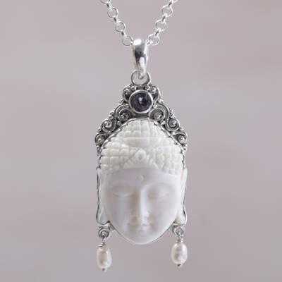 Silver fashion rings - Amethyst Cultured Pearl and Bone Buddha Pendant Necklace