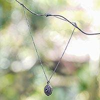 Amethyst locket necklace, 'Floral Secret'