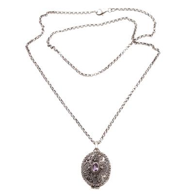 Amethyst locket necklace, 'Floral Secret' - Sterling Silver and Amethyst Locket Necklace on Silk Cord