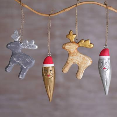 Wood ornaments, Santa and Reindeer (set of 4)