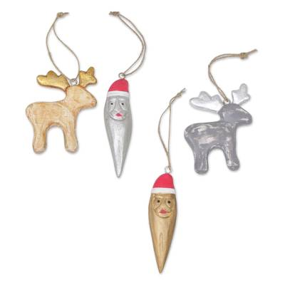 Wood ornaments, 'Santa and Reindeer' (set of 4) - Four Reindeer and Santa Albesia Wood Ornaments from Bali