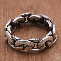 Sterling silver band ring, 'Family Links' - Sterling Silver Unisex Chain Motif Band Ring from Indonesia