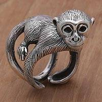 Sterling silver wrap ring, 'Amusing Monkey' - 925 Sterling Silver Monkey Wrap Ring from Indonesia