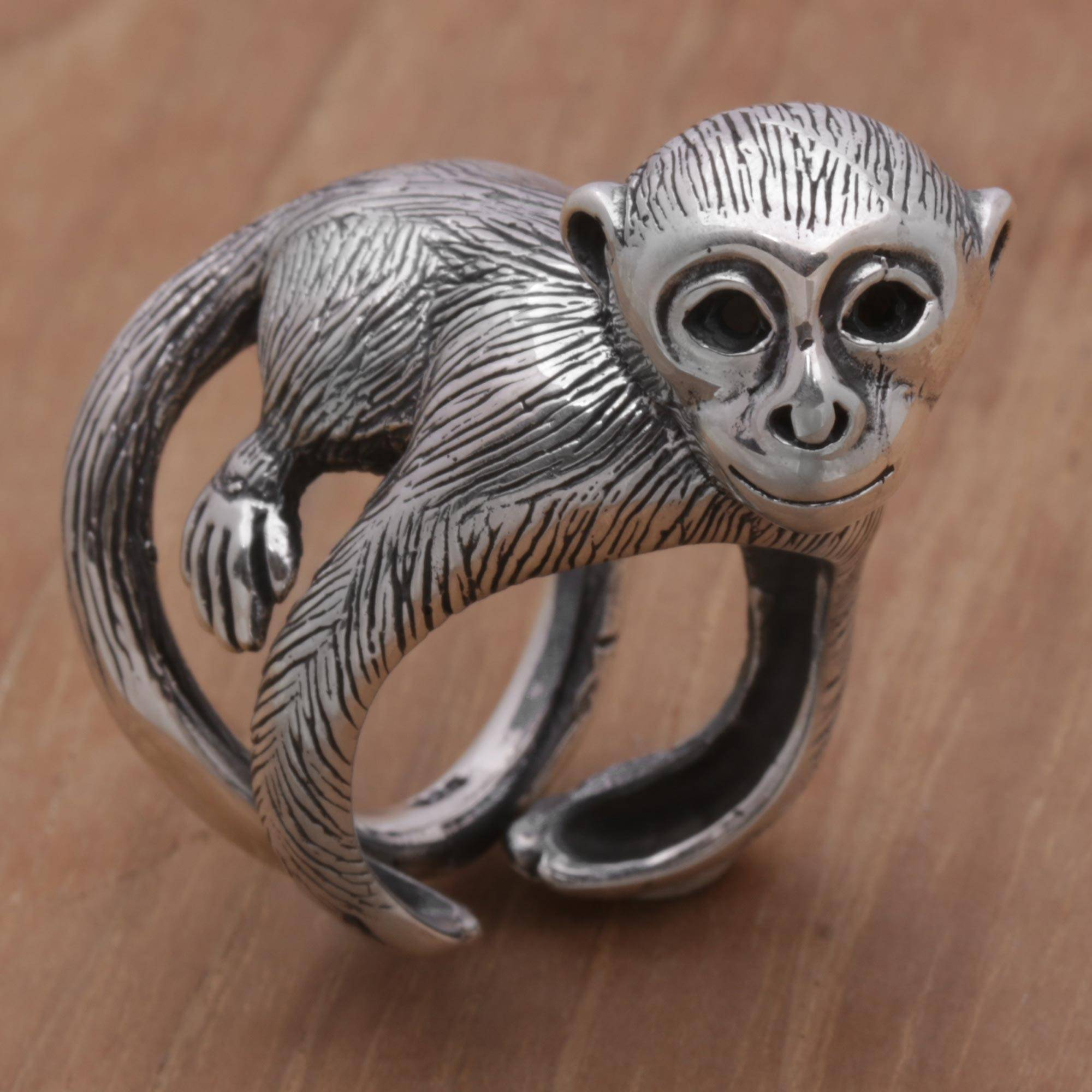 925 Sterling Silver Monkey Wrap Ring from Indonesia Amusing