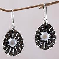 Cultured pearl dangle earrings, 'Moonlight Web' - Cultured Pearl Dot Motif Dangle Earrings from Indonesia