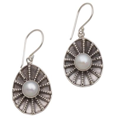 Cultured pearl dangle earrings, 'Moonlight Web' - Cultured Pearl Dot Motif Dangle Earrings from Indonesia