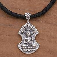 Sterling silver pendant necklace, 'Silent Buddha' - Sterling Silver and Leather Pendant Necklace of Buddha