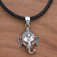 Sterling silver pendant necklace, 'Head of Ganesha' - Sterling Silver and Leather Pendant Necklace of Ganesha