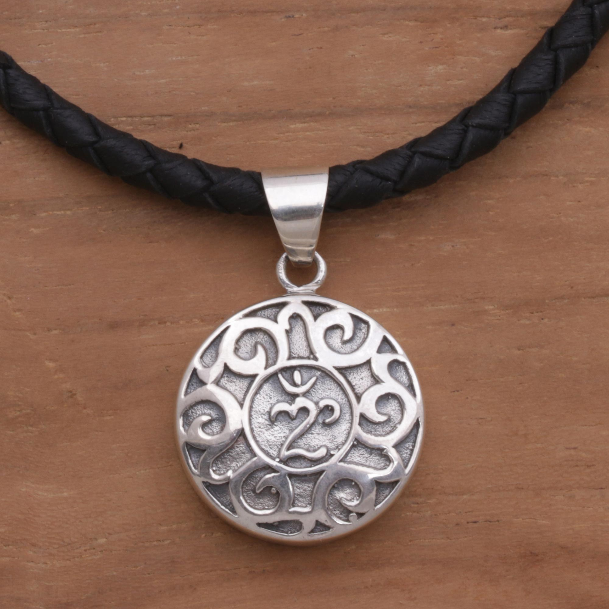 Sterling Silver And Leather Pendant Necklace Of Om Symbol Holy