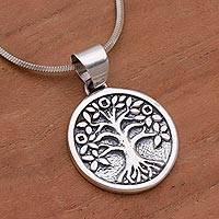 Reversible sterling silver pendant necklace, 'Rooted in Hope'