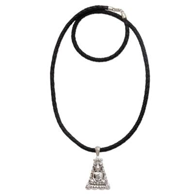 Sterling silver pendant necklace, 'Triangle Padma Buddha' - Sterling Silver and Braided Leather Buddha Pendant Necklace
