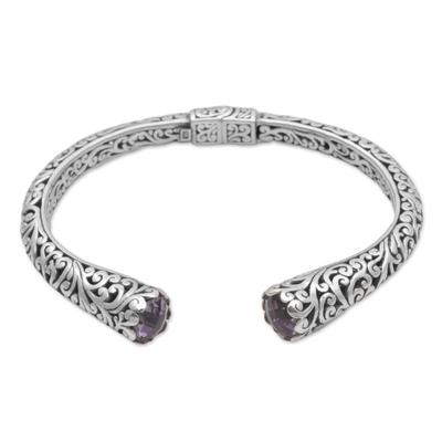 Amethyst cuff bracelet, 'Spiral Engagement' - Amethyst and 925 Sterling Silver Spiral Motif Cuff Bracelet