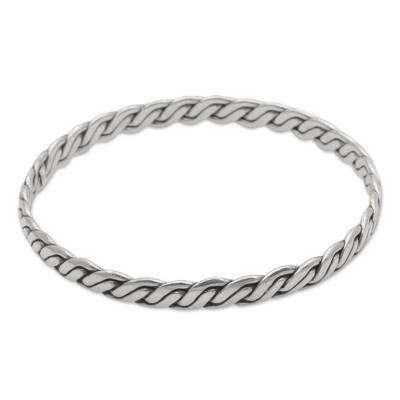 Sterling silver bangle bracelet, 'Shining Sheaves' - Artisan Crafted Sterling Silver Indonesian Bangle Bracelet