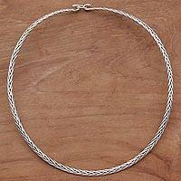 Sterling silver collar necklace, 'Fine Braids' - Sterling Silver Braided Collar Necklace from Indonesia
