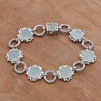 Chalcedony link bracelet, 'Misty Window' - Chalcedony and Sterling Silver Link Bracelet from Bali