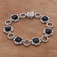 Onyx link bracelet, 'Night Window' - Onyx and Sterling Silver Link Bracelet by Bali Artisans