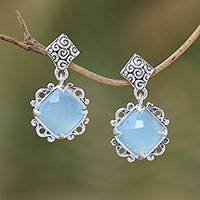 Chalcedony dangle earrings, 'Misty Window' - Chalcedony and Sterling Silver Dangle Earrings from Bali