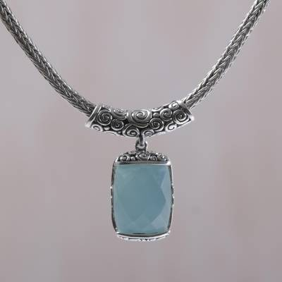 Chalcedony pendant necklace, 'Borobudur Altar' - Rectangle Chalcedony and Sterling Silver Necklace from Bali