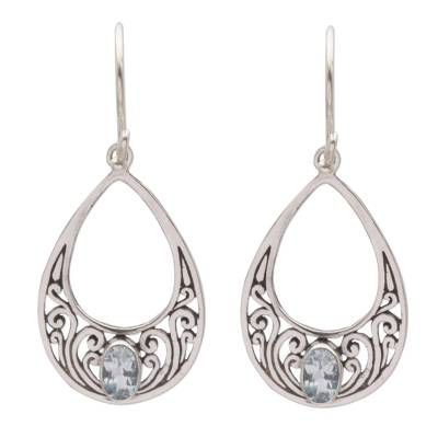 Blue topaz dangle earrings, 'Elegant Tears' - Blue Topaz and 925 Silver Spiral Dangle Earrings from Bali