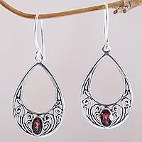Garnet dangle earrings, 'Elegant Tears'