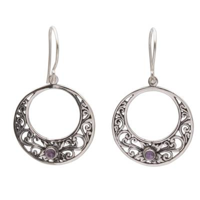 Amethyst dangle earrings, 'Crescent Spirals' - Amethyst and 925 Sterling Silver Dangle Earrings from Bali