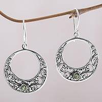 Peridot dangle earrings, 'Crescent Spirals' - Peridot and 925 Sterling Silver Dangle Earrings from Bali