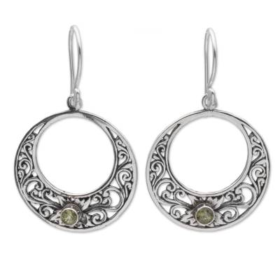 Peridot and 925 Sterling Silver Dangle Earrings from Bali