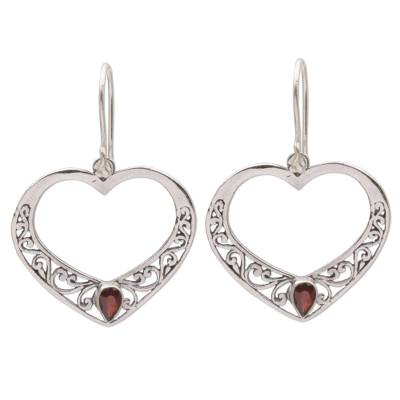 Garnet dangle earrings, 'Heart of Vines' - Garnet and Sterling Silver Heart Dangle Earrings from Bali