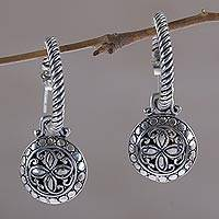 Sterling silver dangle earrings, 'Orchid Lanterns' - 925 Sterling Silver Floral Half-Hoop Dangle Earrings