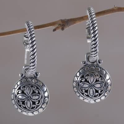 Novica Onyx dangle earrings, Silver Lantern
