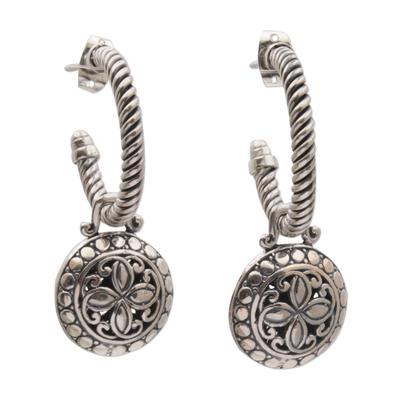Sterling silver dangle earrings, 'Orchid Lanterns' - 925 Sterling Silver Floral Half-Hoop Dangle Earrings