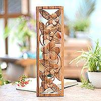Wood relief panel, 'Jepun Wall' - Hand Crafted Suar Wood Floral Relief Panel from Bali