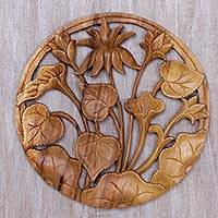 Wood relief panel, 'Lotus Ring' - Hand Carved Suar Wood Lotus Wall Relief Panel from Bali