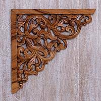 Wood relief panel, 'Forest Corner' - Hand Crafted Suar Wood Vine Motif Relief Panel from Bali