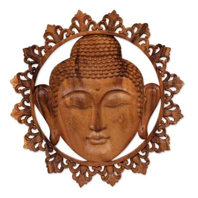 Suar wood wall panel, 'Buddha Face' - Hand Carved Buddha Face Wall Panel with Floral Engravings