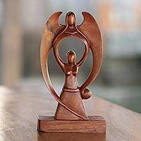 Wood sculpture, 'Woman and Angel' - Suar Wood Scultpure of a Woman and Angel from Bali