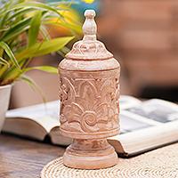 Mahogany wood decorative jar, 'Antique Flower'