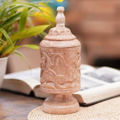 Mahogany wood decorative jar, 'Antique Flower' - Mahogany Wood Cylindrical Decorative Jar with Floral Motifs