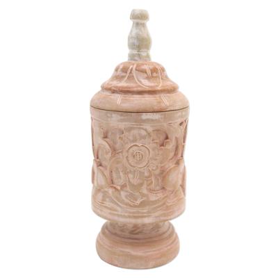 Mahogany Wood Cylindrical Decorative Jar with Floral Motifs